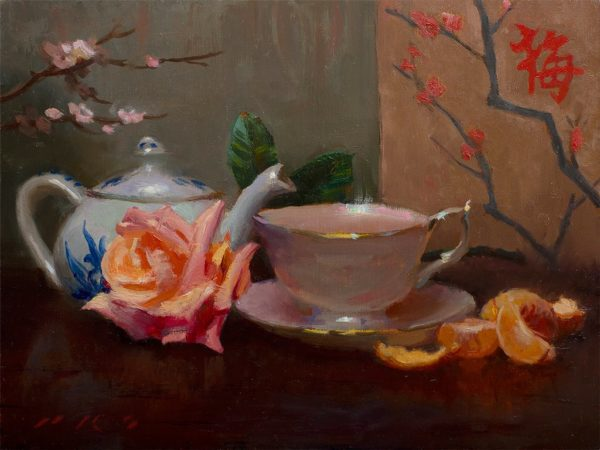 "American Legacy Fine Arts presents ""Tea and Tangerines"" a painting by Tony Pro."