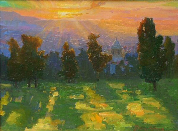 American Legacy Fine Arts presents Sunrise and Long Shadows a painting by Peter Adams