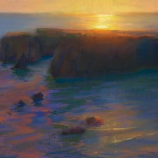 "American Legacy Fine Arts presents ""Late Afternoon Glare Over the Headlands, Mendocino California"" a painting by Peter Adams"