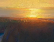 American Legacy Fine Arts presents Late Afternoon Glare Over the Headlands, Mendocino California a painting by Peter Adams with detail.