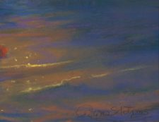 American Legacy Fine Arts presents Late Afternoon Glare Over the Headlands, Mendocino California a painting by Peter Adams, with signature