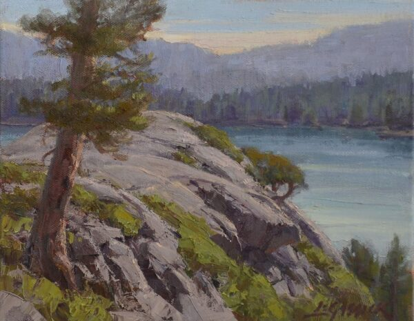 "American Legacy Fine Arts presents ""Above Emerald Bay"" a painting by Jean LeGassick."