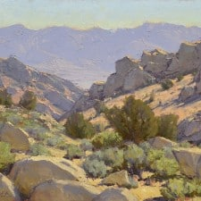 "American Legacy Fine Arts presents Buttermilk Boulder Country"" a painting by Jean LeGassick."