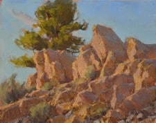 "American Legacy Fine Arts presents ""Rock Catching Rays"" a painting by Jean LeGassick."