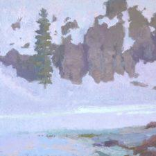 "American Legacy Fine Arts presents ""Voice of Many Waters III ; Mt. Shasta, CA"" a painting by Daniel W. Pinkham."