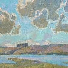 "American Legacy Fine Arts presents ""Roling Coastal Fog, Tomales"" a painting by Daniel W. Pinkham."