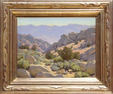 """American Legacy Fine Arts presents Buttermilk Boulder Country"""" a painting by Jean LeGassick."""