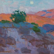 "American Legacy Fine Arts presents ""Moonrise over Key's View; Joshua Tree Highlands"" a painting by Eric Merrell."