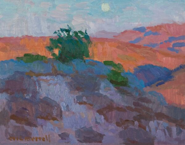 """American Legacy Fine Arts presents """"Moonrise over Key's View; Joshua Tree Highlands"""" a painting by Eric Merrell."""