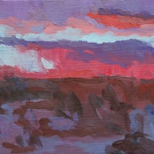 """American Legacy Fine Arts presents """"The Hush of a Desert Sunset"""" a painting by Eric Merrell."""