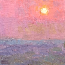 "American Legacy Fine Arts presents ""Sunset over the Pacific Ocean from Monterey Park"" a painting by Eric Merrell."