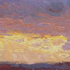 "American Legacy Fine Arts presents ""Cloudy Sunset over the Pacific Ocean from Monterey Park"" a painting by Eric Merrell"