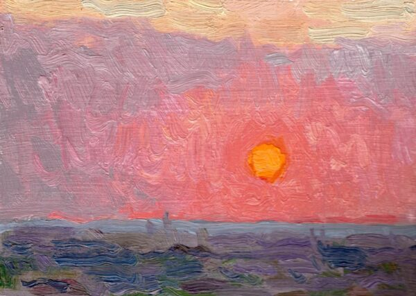 "American Legacy Fine Arts presents ""Blazing Orb; Sunset over the Pacific Ocean from Monterey Park"" a painting by Eric Merrell."