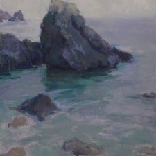 "American Legacy Fine Arts presents ""Silver Light; Pelican Cove, Palos Verdes"" a painting by Amy Sidrane."