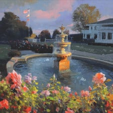 "American Legacy Fine Arts presents ""Los Angeles Country Club Fountain"" a painting by Calvin Liang."