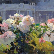 "American Legacy Fine Arts presents ""The Roses in Front of the Club"" a painting by Calvin Liang."