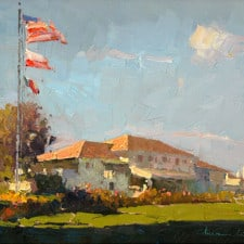 "American Legacy Fine Arts presents ""The Clubhouse"" a painting by Calvin Liang."