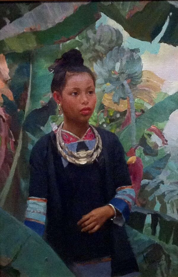"American Legacy Fine Arts presents ""Festival Necklace; Miao Tribe, Guizhou Province"" a painting by Mian Situ."