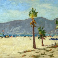 "American Legacy Fine Arts presents ""Last Days of Summer, Santa Monica Beach"" a painting by Stephen Mirich."