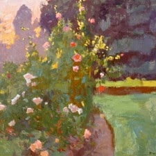 "American Legacy Fine Arts presents ""Huntington Rose Garden at Sunset"" a painting by Daniel W. Pinkham."