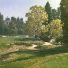 "American Legacy Fine Arts presents ""Afternoon on the 17th Tee"" a painting by Dennis Doheny."