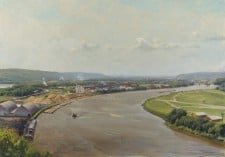 """American Legacy Fine Arts presents """"Monday on the Mississippi"""" a painting by Joseph Paquet."""