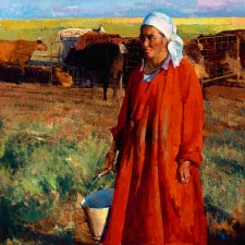 "American Legacy Fine Arts presents ""Mongolian Woman Milks the Cow"" a painting by Jove Wang."