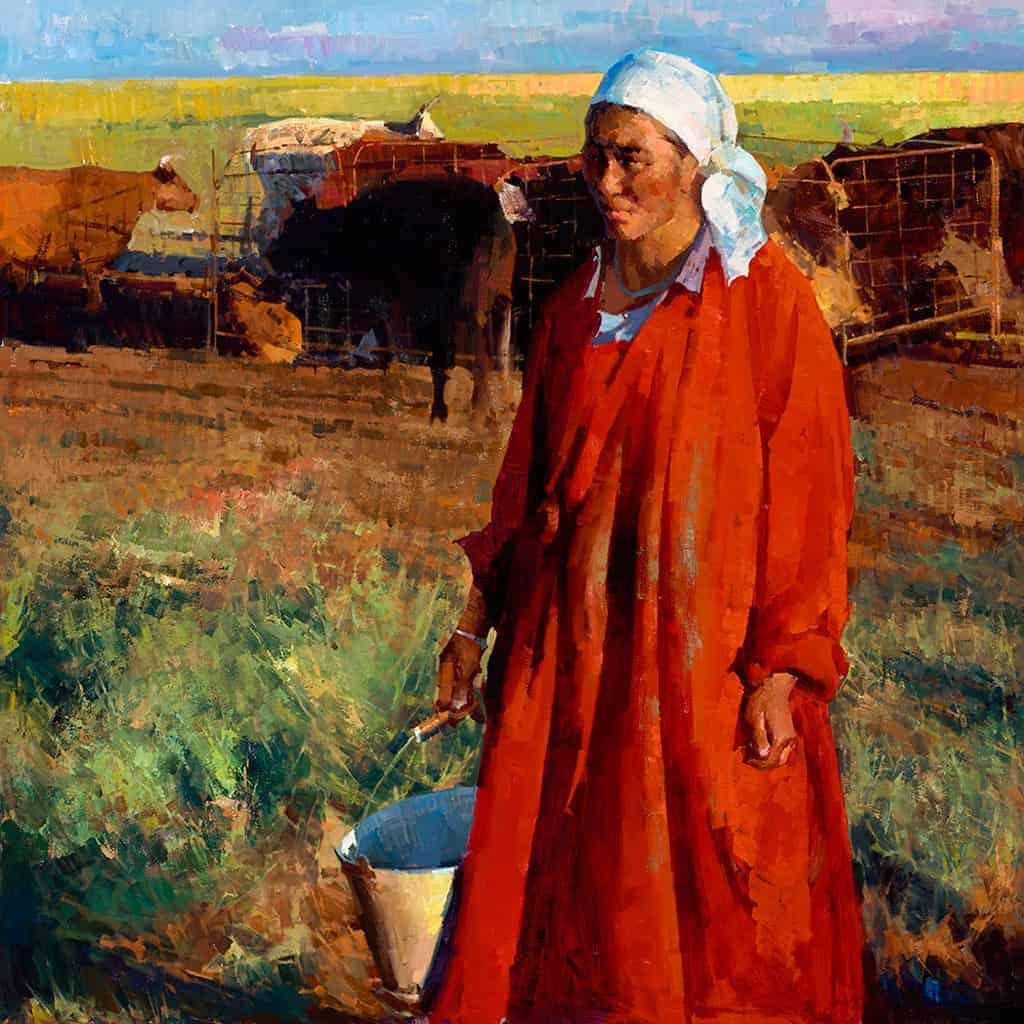 Mongolian Woman Milks the Cow