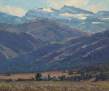 "American Legacy Fine Arts presents ""Beneath Warren Peak; Surprise Valley Near Cedarville, CA"" a painting by Jean LeGassick."