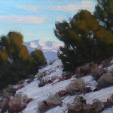 "American Legacy Fine Arts presents ""Catching Last Light -Study"" a paintingby Jean LeGassick."