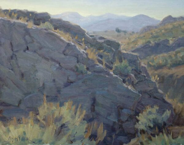 "American Legacy Fine Arts presents ""Cliffs and Sage"" a painting by Jean LeGassick."