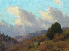 """American Legacy Fine Arts presents """"Dancing Clouds; Outside Silver City"""" a painting by Jean LeGassick."""