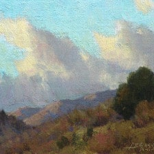 "American Legacy Fine Arts presents ""Dancing Clouds; Outside Silver City"" a painting by Jean LeGassick."