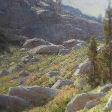 "American Legacy Fine Arts presents ""Donner Pass Slopes"" a painting by Jean LeGassick."