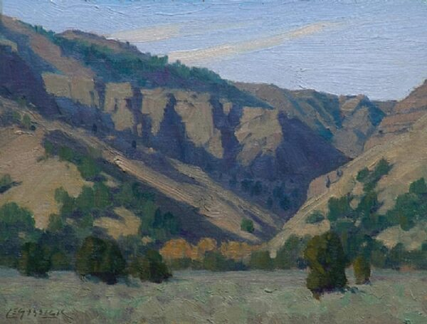 "American Legacy Fine Arts presents ""Granger Canyon; Surprise Valley Near Cedarville, CA"" a painting by Jean LeGassick."