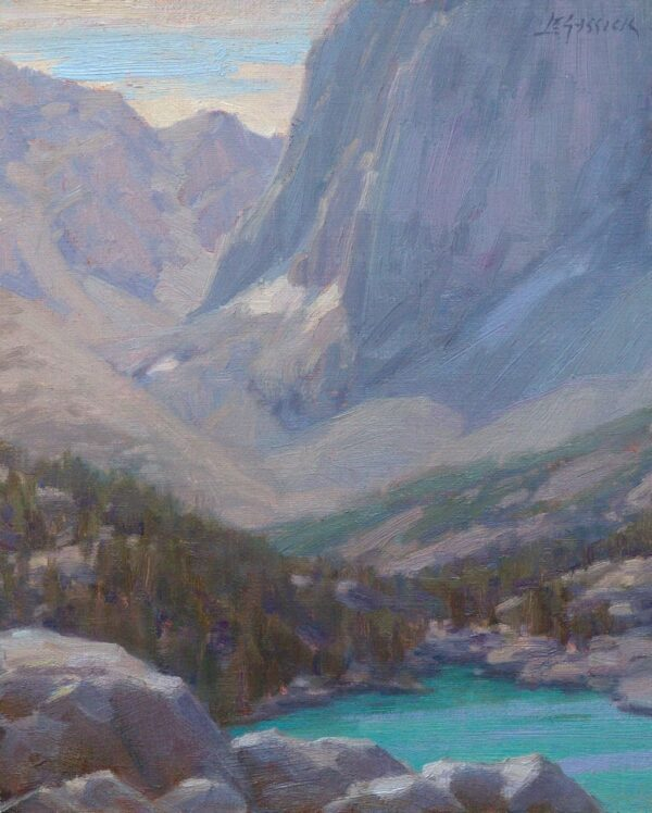 "American Legacy Fine Arts presents ""High Above Fifth Lake"" a painting by Jean LeGassick."