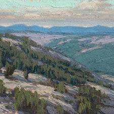 "American Legacy Fine Arts presents ""Sierra Ridge View; Near Silver Lake, Sierra Nevada Range, CA"" a painting by Jean LeGassick."