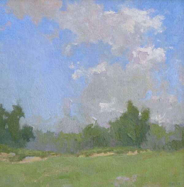 "American Legacy Fine Arts presents ""Billowing over the Greens"" a painting by Jennifer Moses."