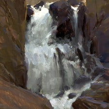 "American Legacy Fine Arts presents ""North Lake Falls; Sierra"" painting by Jeremy Lipking."