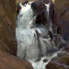 "American Legacy Fine Arts presents ""North Lake Falls; Sierra"" painting by Jeremy Lipking."