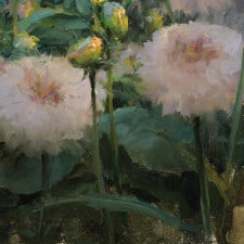 "American Legacy Fine Arts presents ""Pink Dahlias"" a painting by Jeremy Lipking."