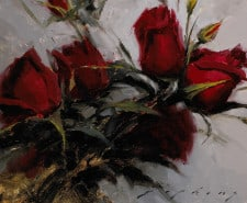 """American Legacy Fine Arts presents """"Red Roses"""" painting by Jeremy Lipking."""