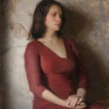 "American Legacy Fine Arts presents ""Severine, Girl in the Red Dress"" a painting by Jeremy Lipking."