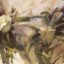 "American Legacy Fine Arts presents ""White Roses on the Vine"" a painting by Jeremy Lipking."