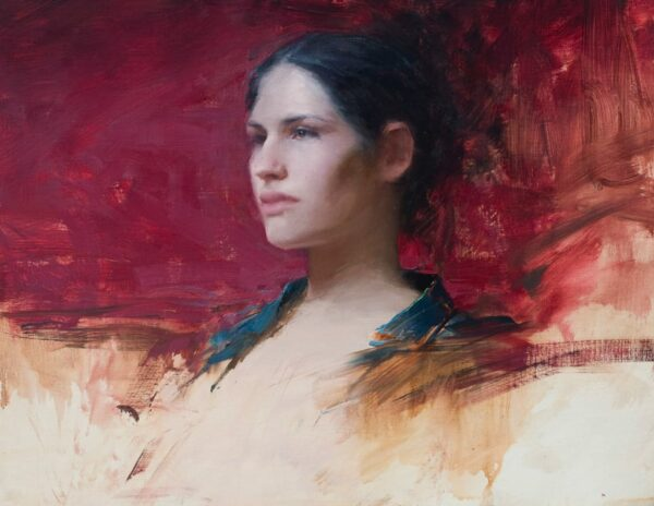 "American Legacy Fine Arts presents ""Young Girl with green and Red"" a painting by Jeremy Lipking."