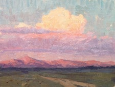 "American Legacy Fine Arts presents ""Long Valley Sunset; Long Valley Caldera, Eastern Sierra, CA"" a painting by Jeremy Lipking."