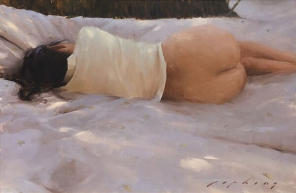 "American Legacy Fine Arts presents ""Reclining Nude"" a painting by Jeremy Lipking."