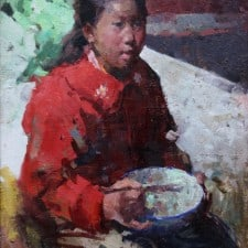 "American Legacy Fine Arts presents ""Breakfast"" a painting by Jove Wang."