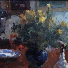 "American Legacy Fine Arts presents ""Flowers on Repin's Desk"" a painting by Jove Wang."