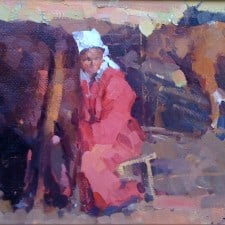 "American Legacy Fine Arts presents ""Milk Woman Under the Sunset"" a painting by Jove Wang."